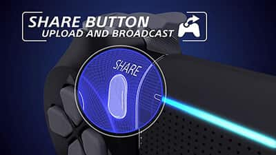 dualshock 4 share button feature image 1 - دسته بازی PlayStation 4 - آبی ارتشی