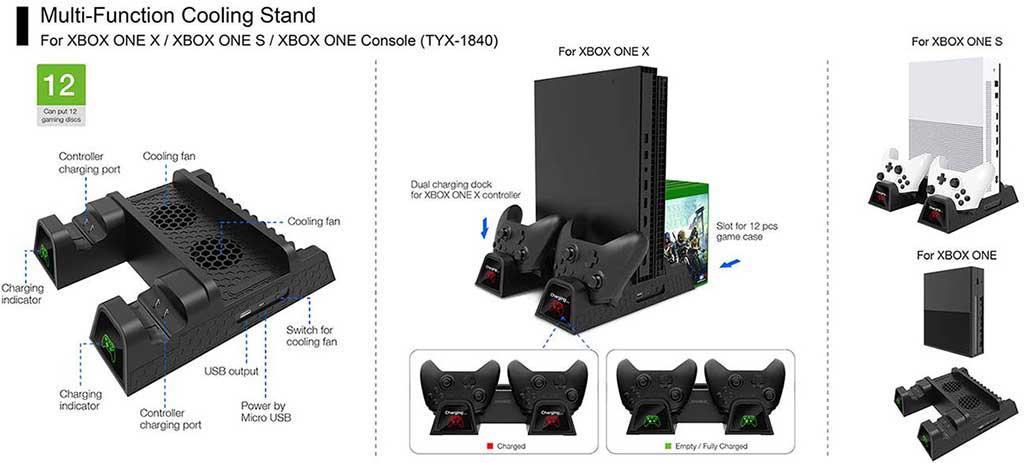 dobe xbox one multi function cooling stand tyx 1840 07 - پایه چند منظوره Dobe مخصوص انواع Xbox One