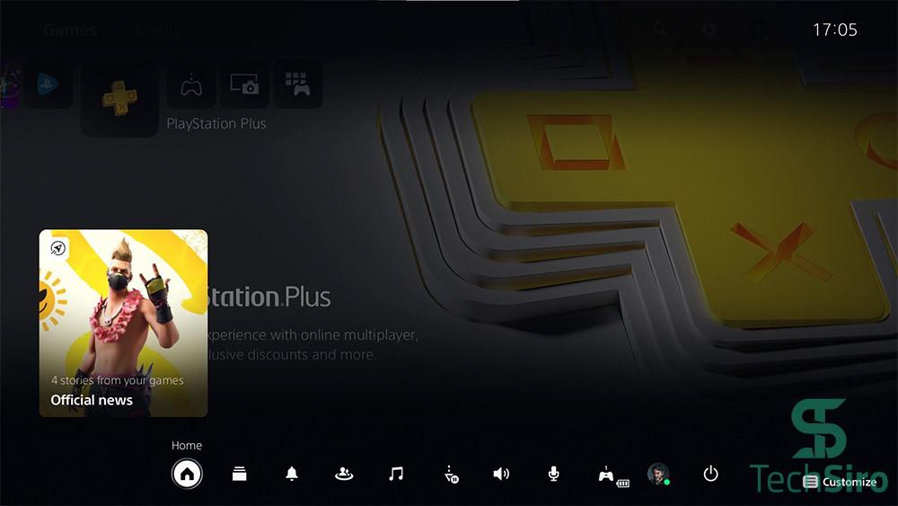 گزینه Home در PS5